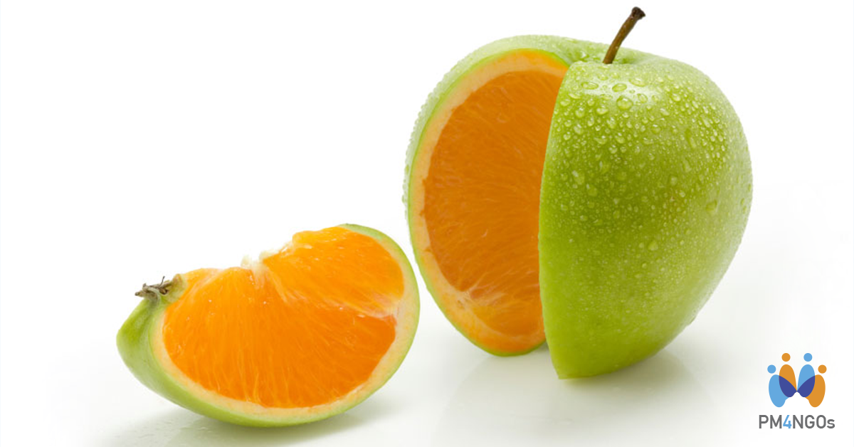 Article about the difference between project and program. Orange that seems to be an apple.
