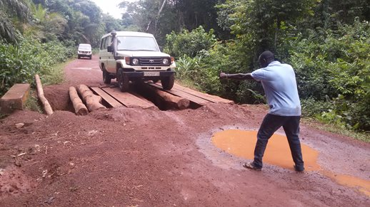 Navigating wooden bridges and muddy roads in DRC